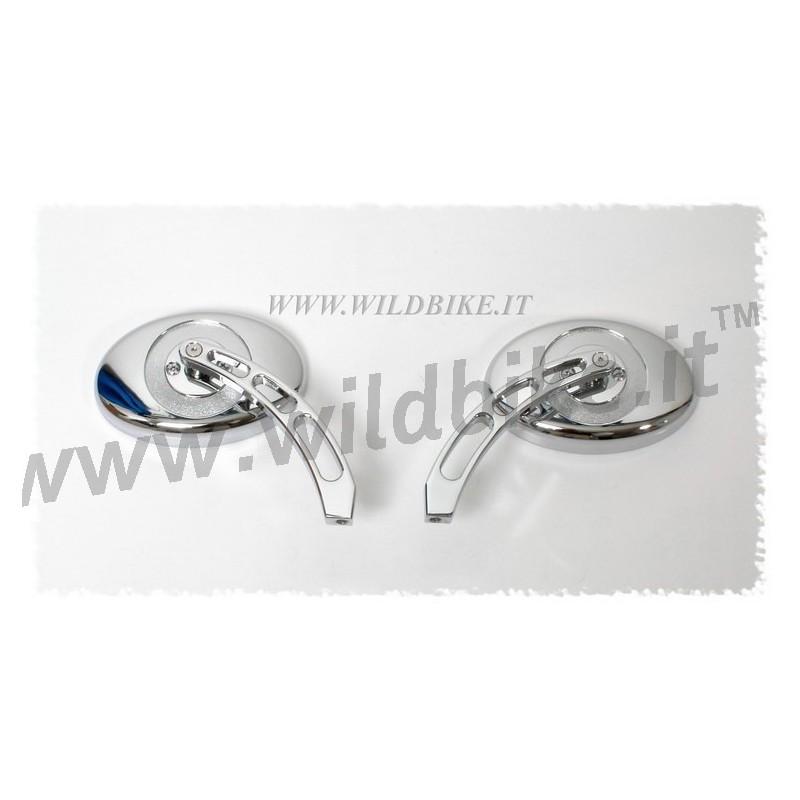 Miroirs ovales billette chrome pour harley davidson et for Miroirs ovales