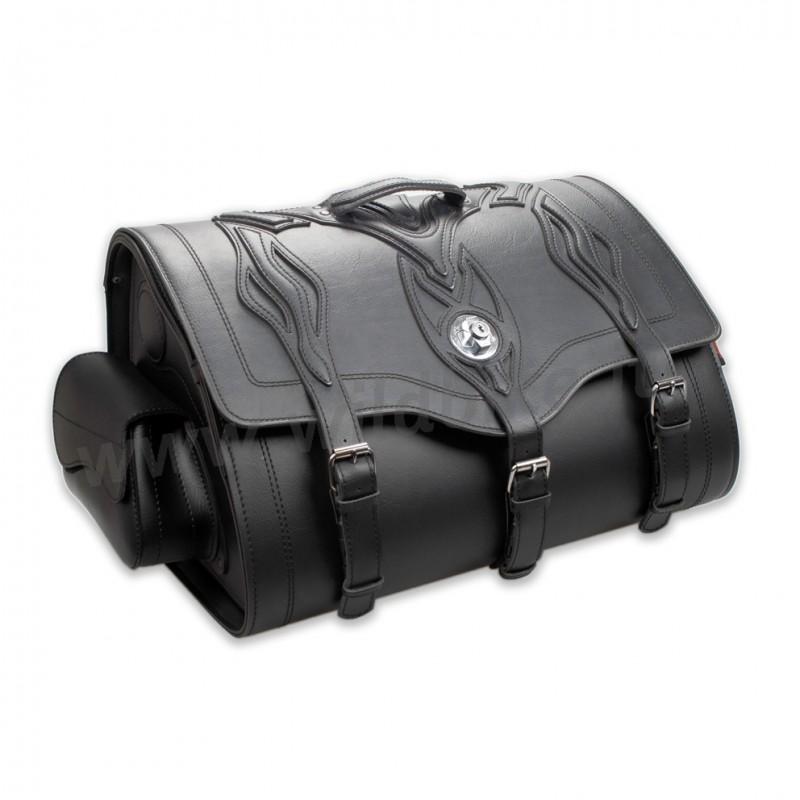 sacoche de voyage en cuir tek memphis flamme large pour sissy bar porte bagage moto custom et. Black Bedroom Furniture Sets. Home Design Ideas