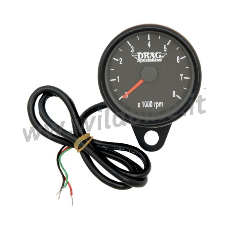 electronic black drag tachometer 60 mm custom motorcycles. Black Bedroom Furniture Sets. Home Design Ideas