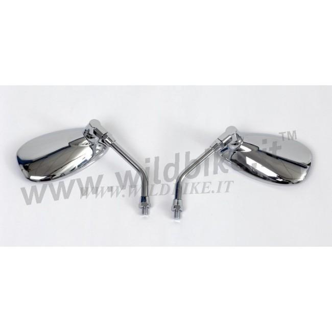 Specchietti american oval omologati cromati per moto custom - Specchi moto omologati ...