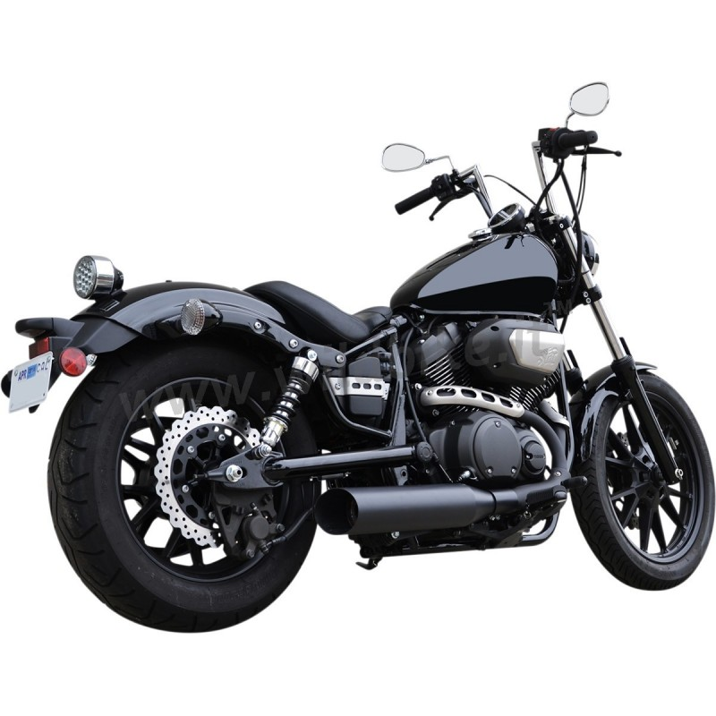 exhaust muffler slip on 4 slash cut black for yamaha xv 950. Black Bedroom Furniture Sets. Home Design Ideas