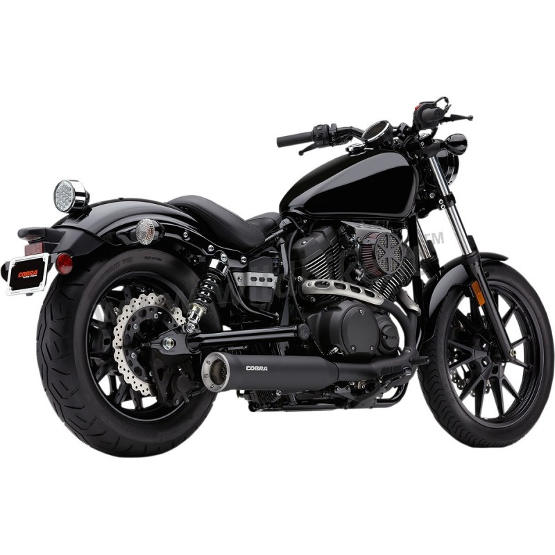 4 slip on muffler cobra exhaust black yamaha xv 950. Black Bedroom Furniture Sets. Home Design Ideas