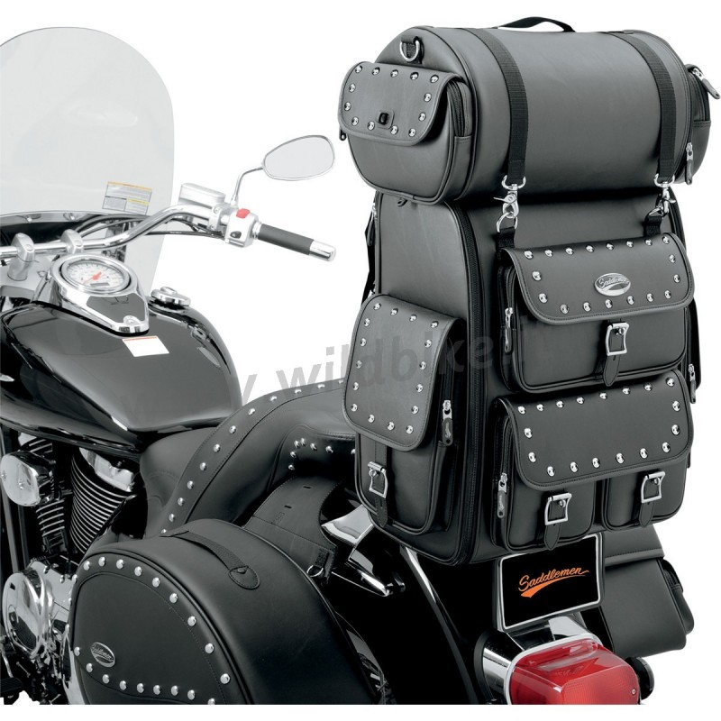 travel bag leather expandable ex2200s drifter deluxe sissy bar custom motorcycle and harley davidson. Black Bedroom Furniture Sets. Home Design Ideas