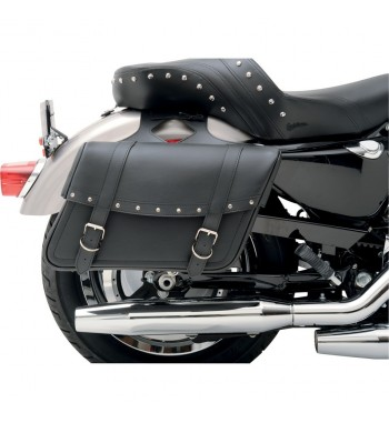 BORSE LATERALI IN PELLE HIGHWAYMAN CON RIVETTI LARGE PER MOTO CUSTOM E HARLEY DAVIDSON
