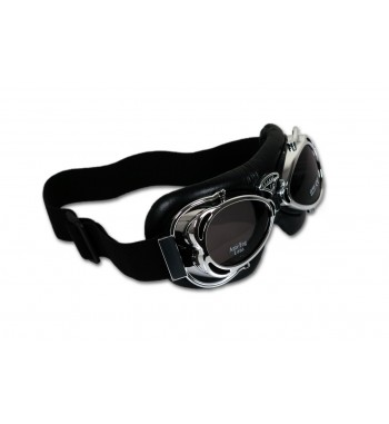 GOGGLES DAKOTA CHROME BLACK LEATHER FOR CUSTOM MOTORCYCLE AND HARLEY DAVIDSON