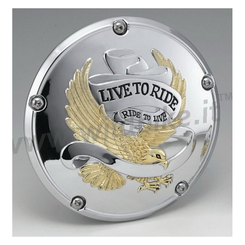 Clutch Derby Cover Live To Ride Chrome Gold For Harley