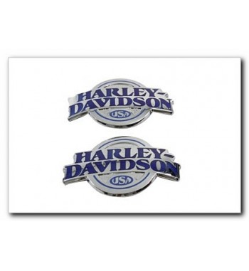 EMBLEMS GAS TANK BLUE STYLE WITH CHROME LETTERING HARLEY DAVIDSON