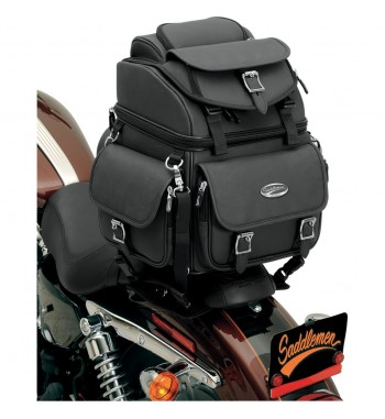 BAG BIG TRAVEL CASE LEATHER COMBINATION BR1800EX DELUXE FOR CUSTOM MOTORCYCLE AND HARLEY DAVIDSON