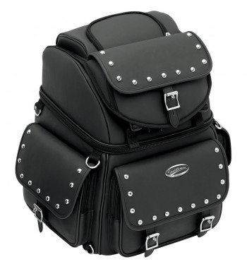 BAG BIG TRAVEL CASE LEATHER COMBINATION BR3400EX/S DELUXE STUDDED FOR CUSTOM MOTORCYCLE AND HARLEY DAVIDSON