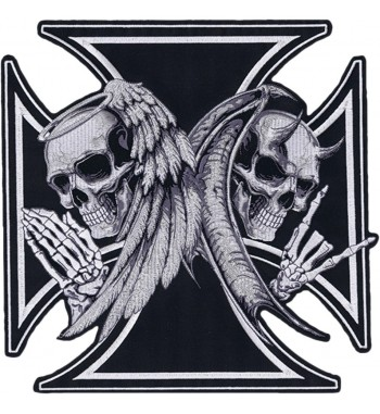 "ECUSSONS BRODES PATCH IRON CROSS SKULL 12 ""X 13"""