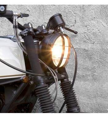 """HEADLIGHT ASSEMBLY SCRAMBLER BLACK 5 3/4"""" FOR MOTORCYCLE AND HARLEY DAVIDSON"""