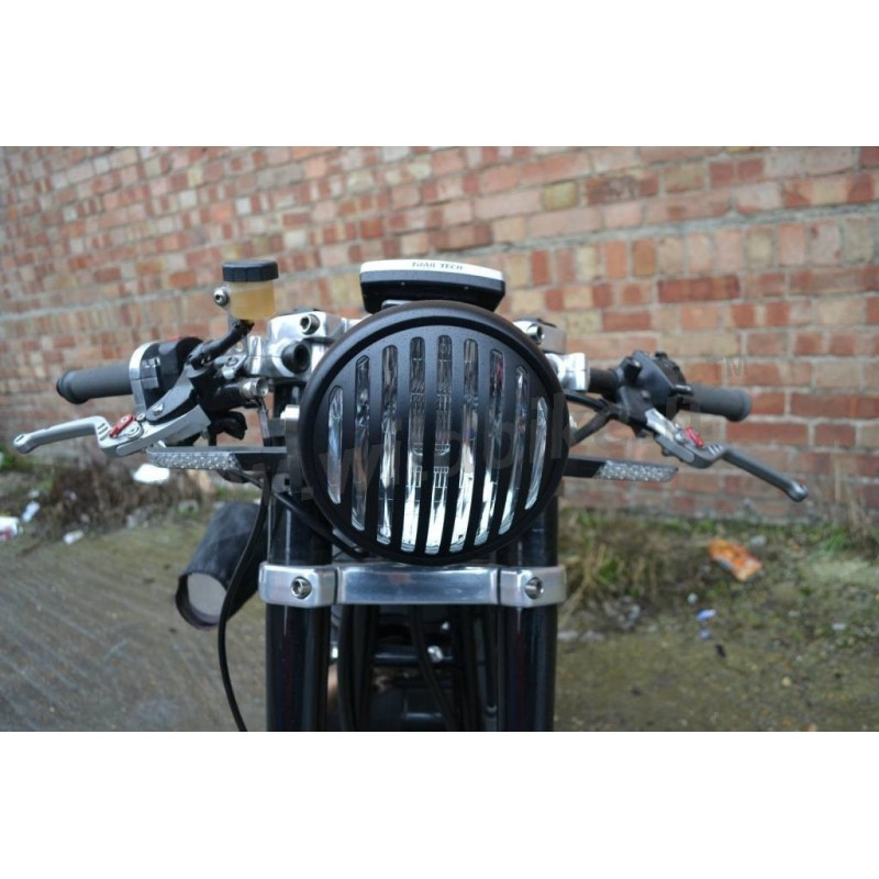phare avant steampunk avec grille noir pour moto et harley davidson. Black Bedroom Furniture Sets. Home Design Ideas