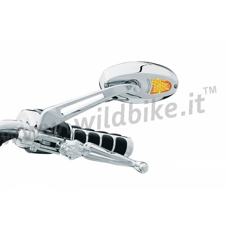 Miroirs ovales chrome avec clignotants led pour harley for Miroirs ovales