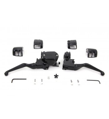 COMPLETE HANDLEBAR CONTROL KIT SATIN BLACK SINGLE BRAKE DISC HARLEY DAVIDSON XL SPORTSTER '04-'13