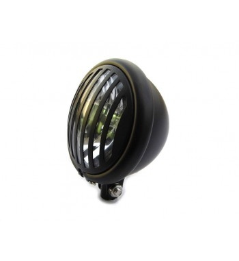 "HEADLIGHT FLAT BLACK CAGE 5.75"" 145 MM  FOR CUSTOM MOTORCYCLE AND HARLEY DAVIDSON"