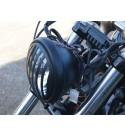 """FARO FANALE ANTERIORE CAGE 5.75"""" 145 MM NERO OPACO PER MOTO CUSTOM E HARLEY DAVIDSON"""