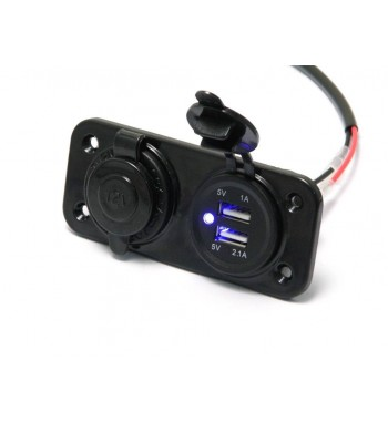 POWER SUPPLY MULTI CHARGER WITH USB SOCKET AND 12 V. BLUE LIGHT FOR CAR AND MOTORCYCLE