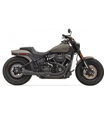 EXHAUST 2-INTO-1 SYSTEMS BASSANI ROAD RAGE III BLACK FOR HARLEY DAVIDSON SOFTAIL FXFB M8 FAT BOB 2017-2018