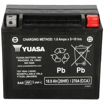 BATTERY YUASA ORIGINAL HIGH PERFORMANCE MAINTENANCE FREE YTX20L PREACTIVATED FOR HARLEY DAVIDSON