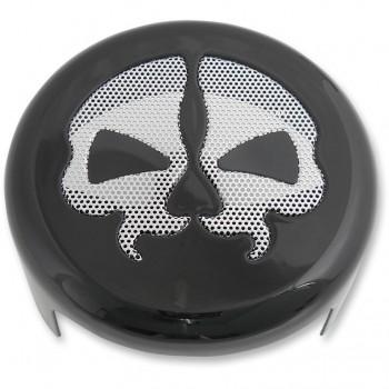 HORN COVER SPLIT SKULL BLACK/CHROME FOR HARLEY DAVIDSON XL SPORTSTER AND TWIN CAM