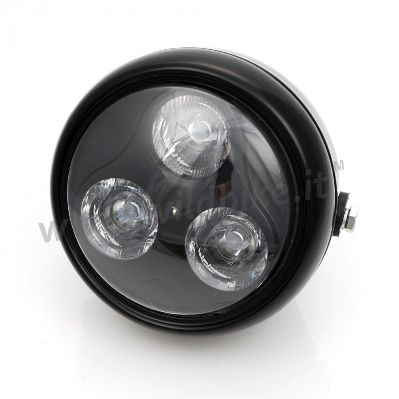 led phare cyclope 170 mm noir brillant pour moto custom et harley davidson. Black Bedroom Furniture Sets. Home Design Ideas