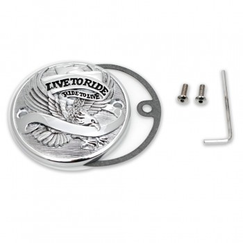 "POINT COVER ""LIVE TO RIDE"" CHROME HARLEY BIG TWIN E SPORTSTER"