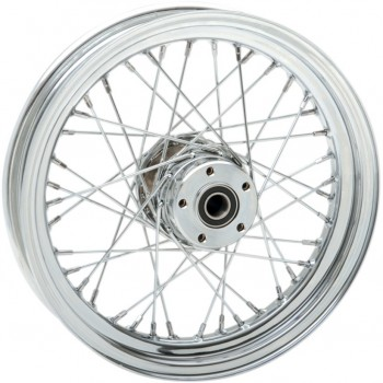 "WHEELS REPLACEMENT LACED FRONT 40 SPOKES 16"" X 3"" CHROME FOR HARLEY DAVIDSON TOURING '00-'07"
