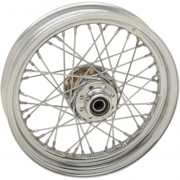 "WHEELS REPLACEMENT LACED FRONT 40 SPOKES 16"" X 3"" CHROME FOR HARLEY DAVIDSON FLST SOFTAIL '12-'17"