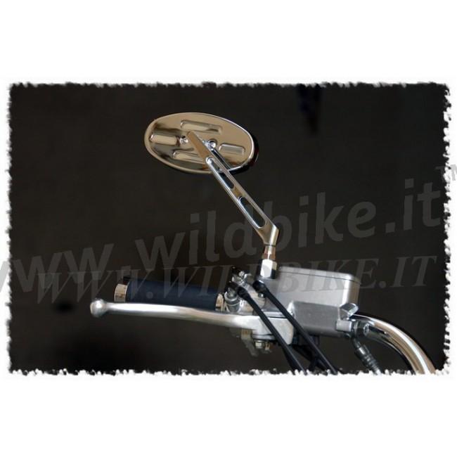 oval billet aluminium spiegel f r custom bike long stem. Black Bedroom Furniture Sets. Home Design Ideas