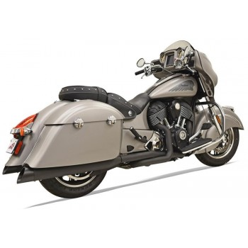 "SCARICHI MARMITTE COMPLETI BASSANI 4"" TRUE DUALS NERI PER INDIAN CHIEFTAIN/ROADMASTER '14-'18"