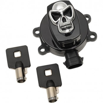 BLACK SKULL IGNITION SWITCH FOR HARLEY DAVIDSON FLST SOFTAIL '11-'17
