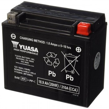 BATTERY YUASA ORIGINAL HIGH PERFORMANCE MAINTENANCE FREE YUAM720BH-PW FOR INDIAN SCOUT/SCOUT SIXTY/BOBBER '15-'19