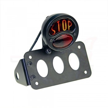BLACK SUPPORT SIDE MOUNT KIT LICENSE PLATE AND STOP RETRO TAIL LIGHT FOR CUSTOM MOTORCYCLE AND HARLEY DAVIDSON