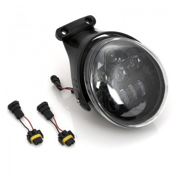 LED BLACK HEADLIGHT EU APPROVED SUPERLIGHT WITH BRACKET FOR HARLEY DAVIDSON V-ROD