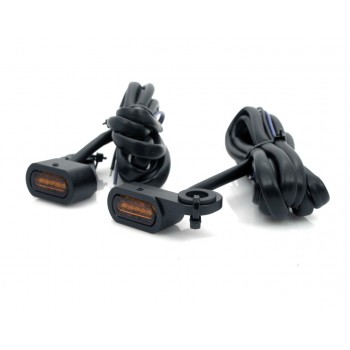 BLACK MINI TURN SIGNALS DRAG LED AMBER EU APPROVED FOR HANDLEBAR HARLEY DAVIDSON FXST FLST SOFTAIL '87-'17