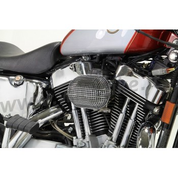 AIR CLEANER KIT BOX WYATT RETRO STYLE OVAL CHROME HARLEY DAVIDSON XL SPORTSTER '91-'06