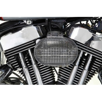 AIR CLEANER KIT BOX WYATT RETRO STYLE OVAL CHROME HARLEY DAVIDSON XL SPORTSTER '07-'19
