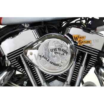 AIR CLEANER KIT BOX WYATT TEARDROP EAGLE LIVE TO RIDE CHROME HARLEY DAVIDSON XL SPORTSTER '91-'06