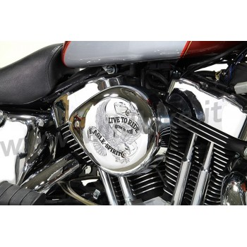 AIR CLEANER KIT BOX WYATT TEARDROP EAGLE LIVE TO RIDE CHROME HARLEY DAVIDSON XL SPORTSTER '07-'19