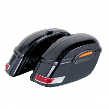 HARD SADDLEBAGS UNIVERSAL TOURING MODEL BLACK WITH LED TAILLIGHT FOR HARLEY DAVIDSON