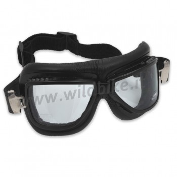 RED BARON GOGGLES VINTAGE BLACK LEATHER/METAL CURVED LENSES UV 400 PROTECTION