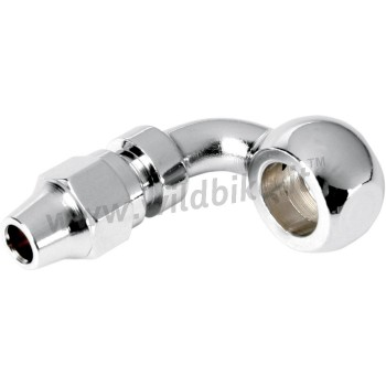 """CHROME UNIVERSAL BANJO FITTING CURVED 90° 10MM x 3/8 """" MOTORCYCLE AND HARLEY DAVIDSON"""