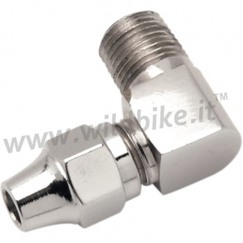 """CHROME UNIVERSAL BRAKE FITTING CURVED 90° MALE NPT 1/8"""" MOTORCYCLE AND HARLEY DAVIDSON"""