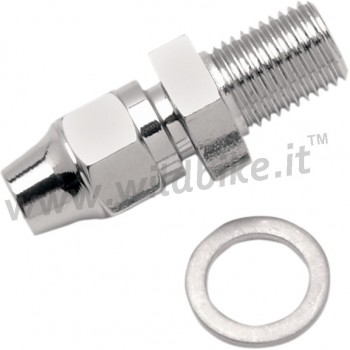 """CHROME UNIVERSAL BRAKE FITTING STRAIGHT MALE 3/8""""-24 MOTORCYCLE AND HARLEY DAVIDSON"""