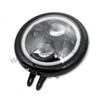 GLOSS BLACK HEADLIGHT ASSEMBLY LED FRONT HALO RING EU APPROVED 155 MM BATES FOR MOTORCYCLE