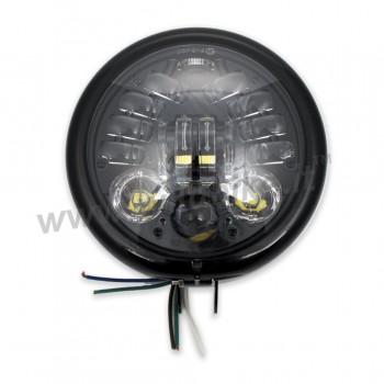 FARO FANALE ANTERIORE A LED MULTIFUNZIONE OMOLOGATO 155 MM BATES NERO LUCIDO PER MOTO