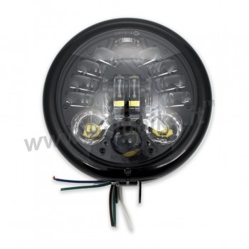 GLOSS BLACK HEADLIGHT ASSEMBLY LED FRONT MULTIFUNCTION EU APPROVED 155 MM BATES FOR MOTORCYCLE