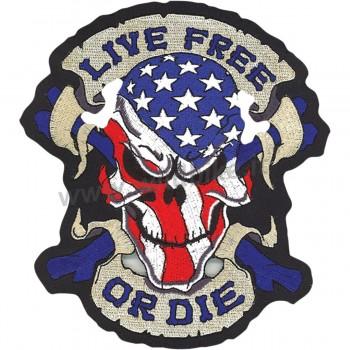 "TOPPA RICAMATA SCHELETRO TESCHIO LIVE FREE OR DIE USA SKULL BIKER 12"" X 13"""