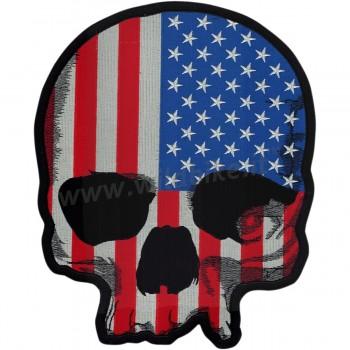 "TOPPA RICAMATA TESCHIO USA FLAG SKULL BIKER 12"" X 13"""