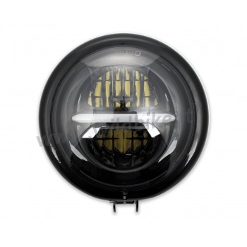 GLOSS BLACK HEADLIGHT ASSEMBLY LED FRONT THUNDERBOLT EU APPROVED 155 MM BATES FOR MOTORCYCLE